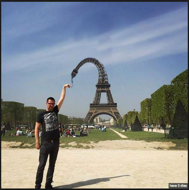 eiffel tower finger photoshop bend