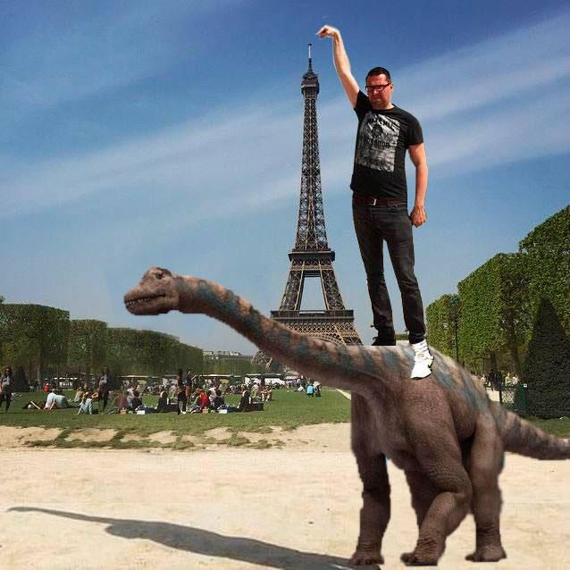 eiffel tower finger photoshop dinosaur