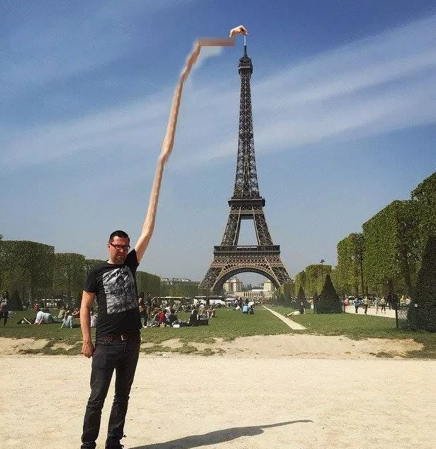 eiffel tower finger photoshop extend