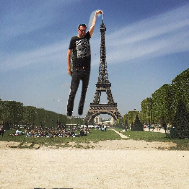 eiffel tower finger photoshop go up