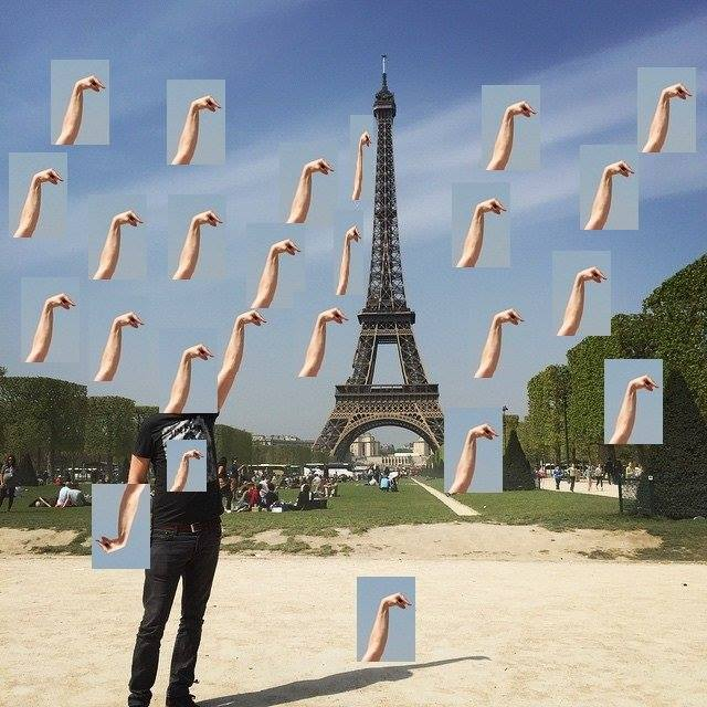 eiffel tower finger photoshop many hands