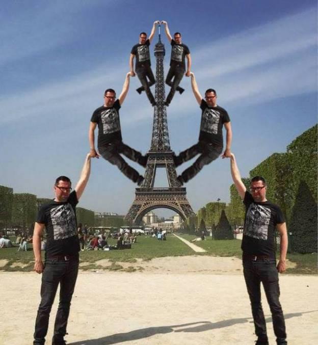 eiffel tower finger photoshop many