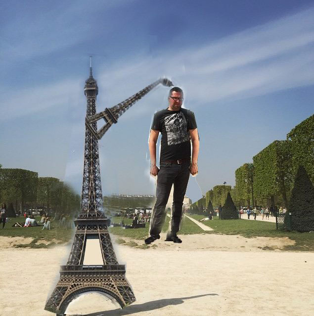eiffel tower finger photoshop reverse