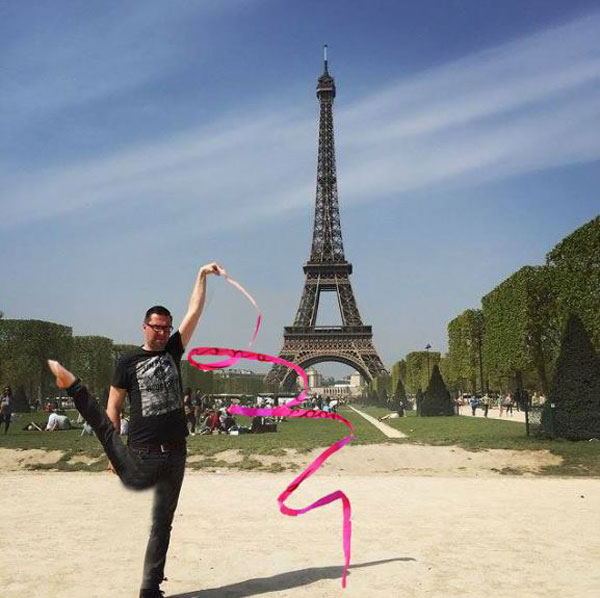 eiffel tower finger photoshop ribbon