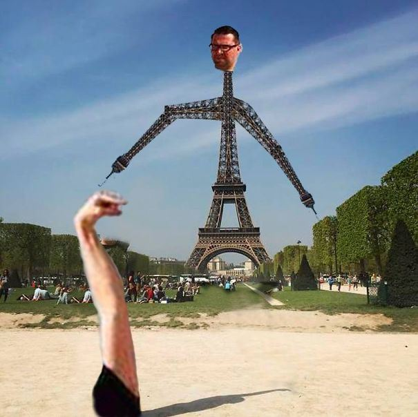 eiffel tower finger photoshop robot