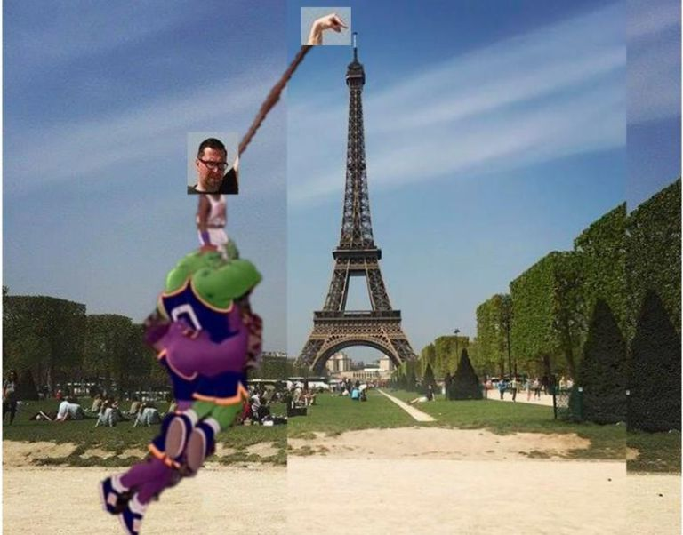 eiffel tower finger photoshop spacejam