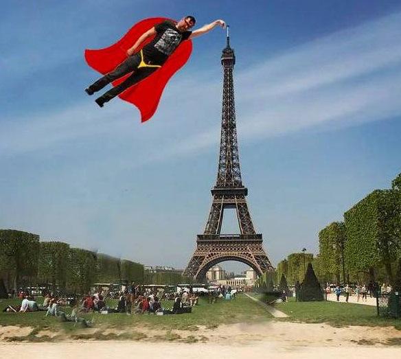eiffel tower finger photoshop superman
