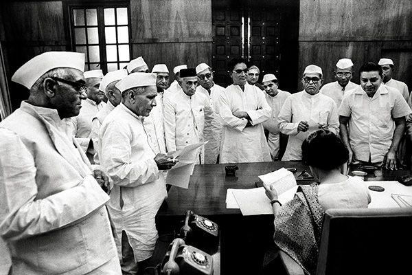Indira Gandhi with Congressmen at her office in Parliament House in 1966. The Indira era consolidated power at the Centre