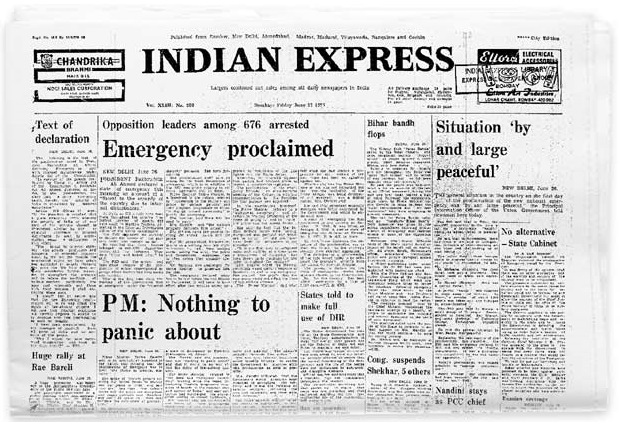 indian express emergency proclaimed
